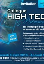 Invitation colloque High Tech & Patrimoine - Paris, 6 avril 2016
